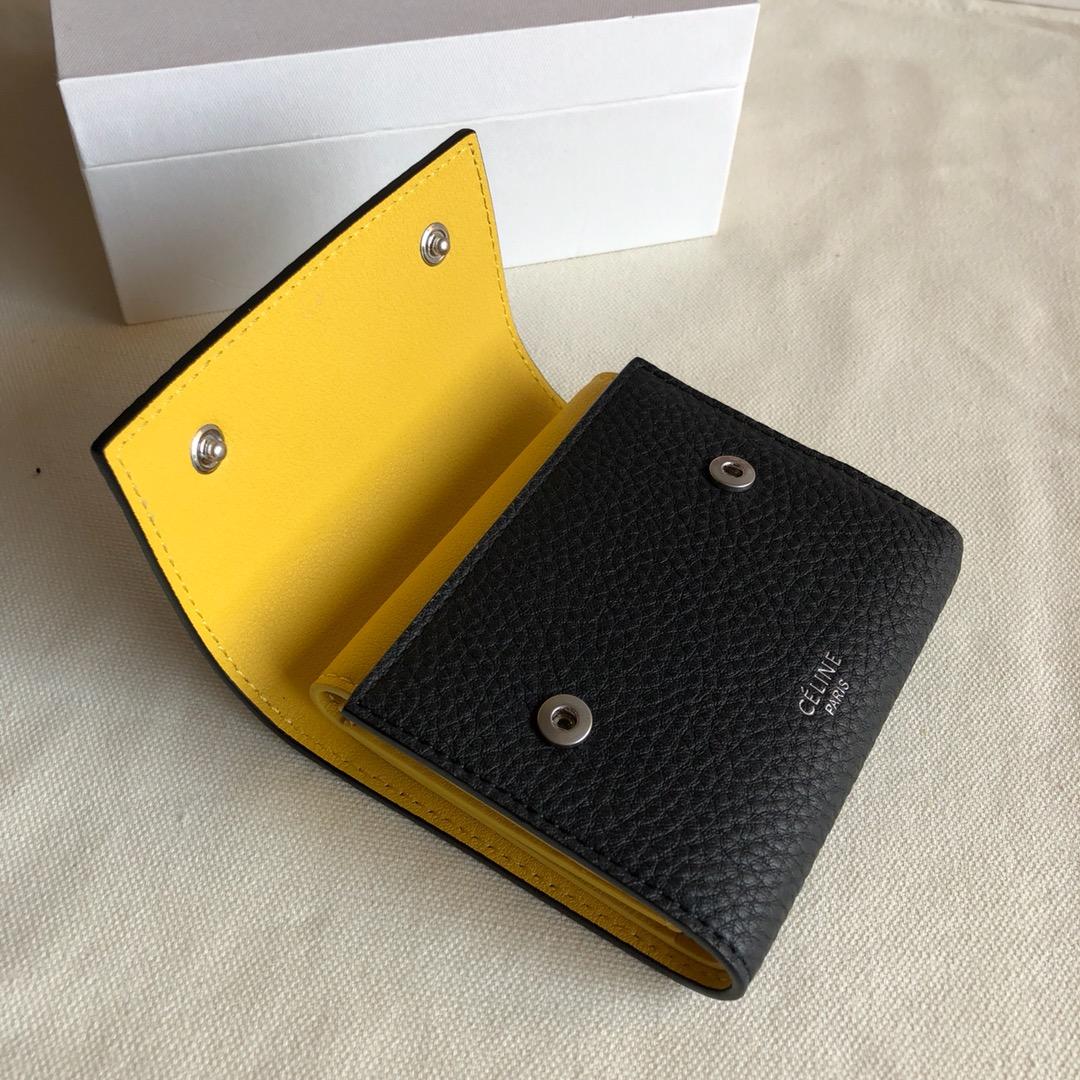 CELINE12厘米 荔枝纹 黑色拼黄色 三折钱包原厂定制五金