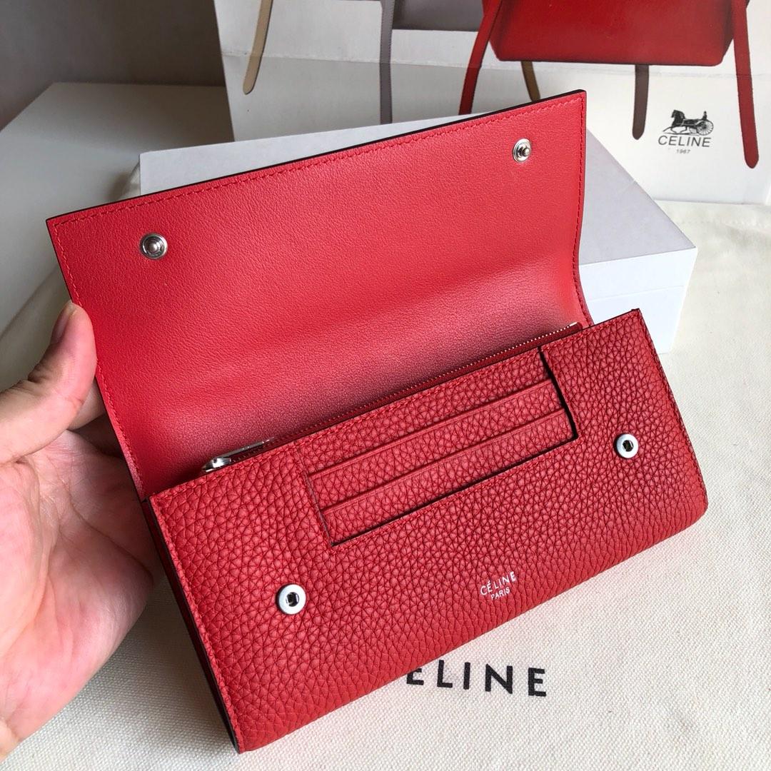 CELINE 0172大红荔枝纹/红色 19cm 长款钱包 卡包
