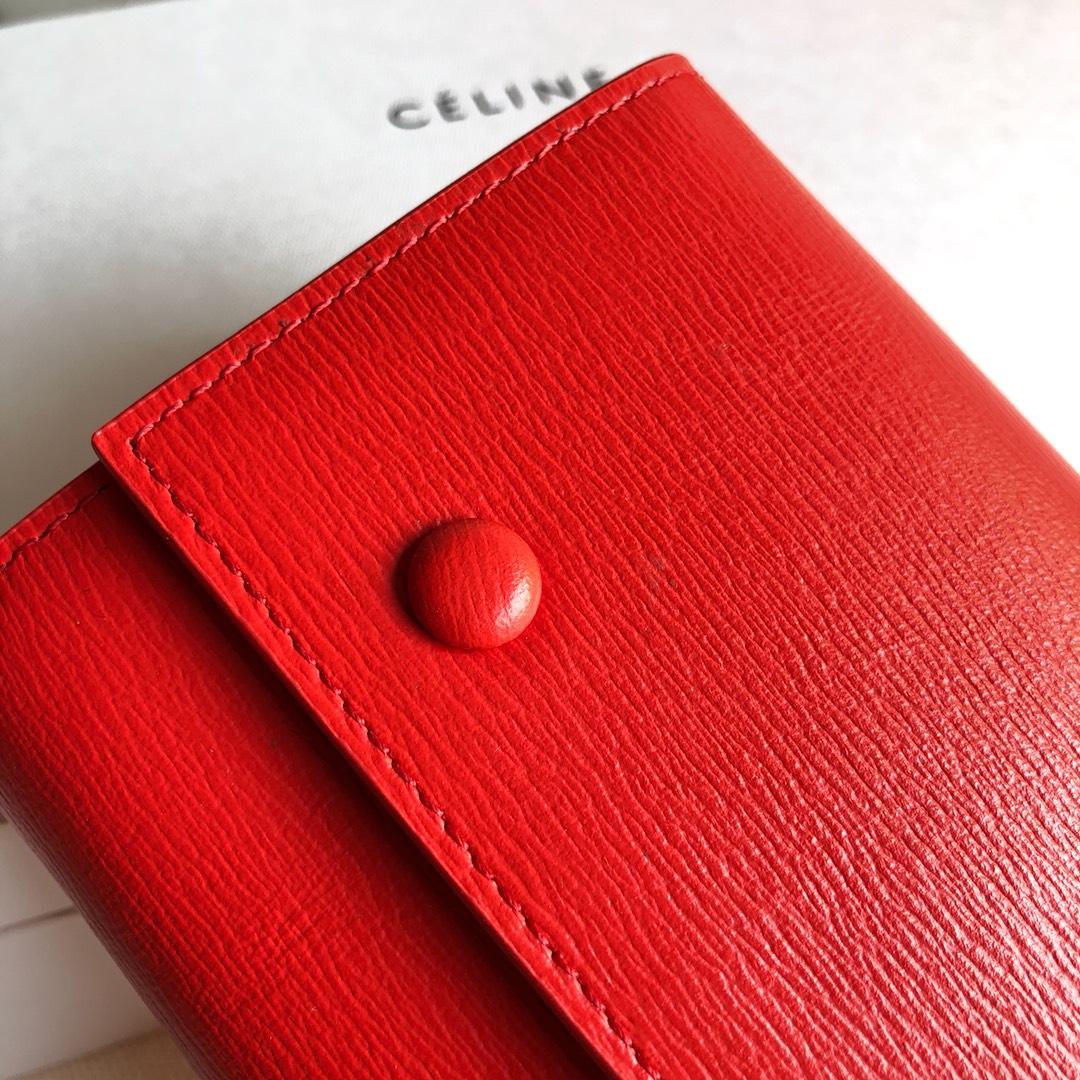 CELINE 0172 桔红色 水波纹 19cm 长款钱包 卡包