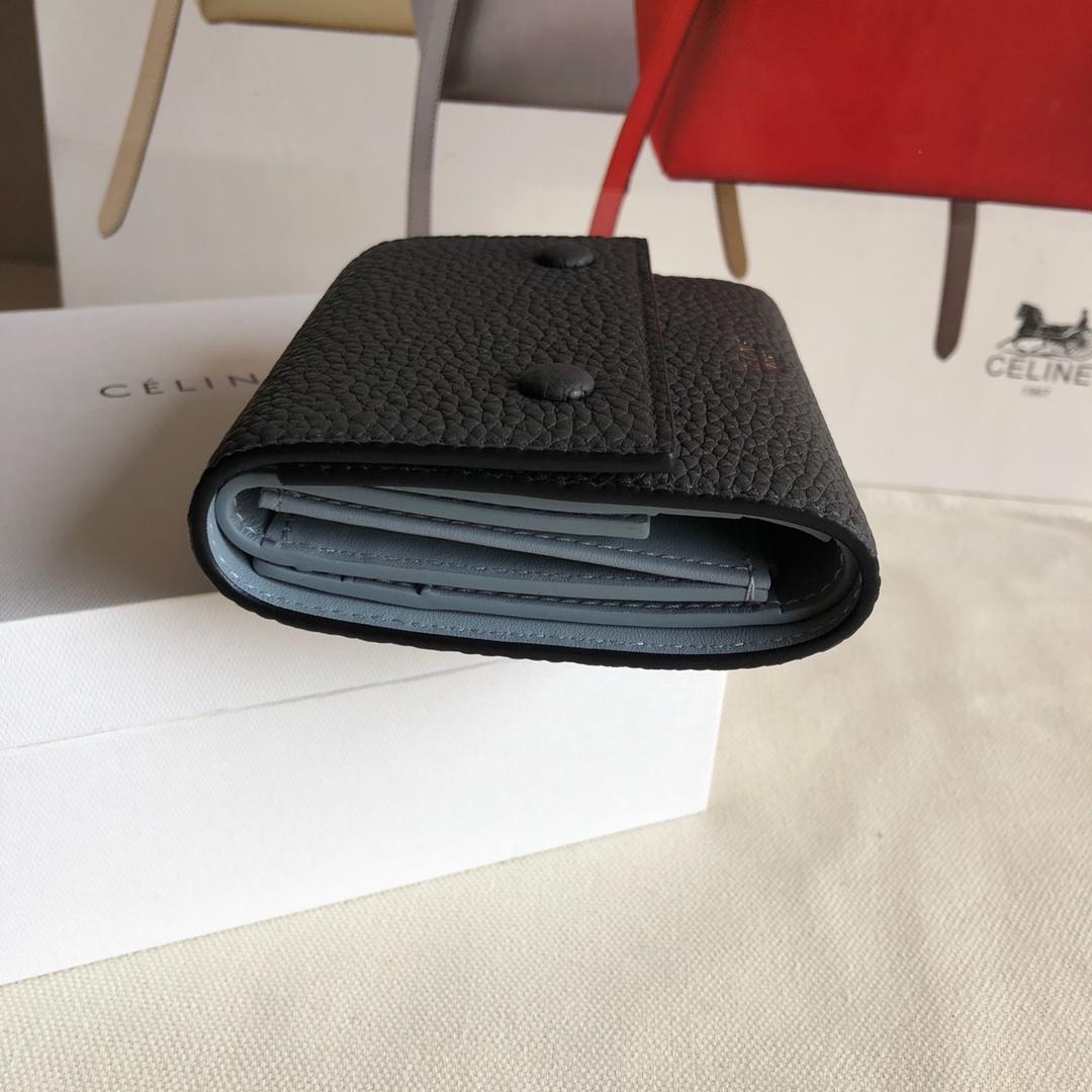 CELINE12厘米 荔枝纹 灰黑色拼浅蓝色 三折钱包原厂定制五金