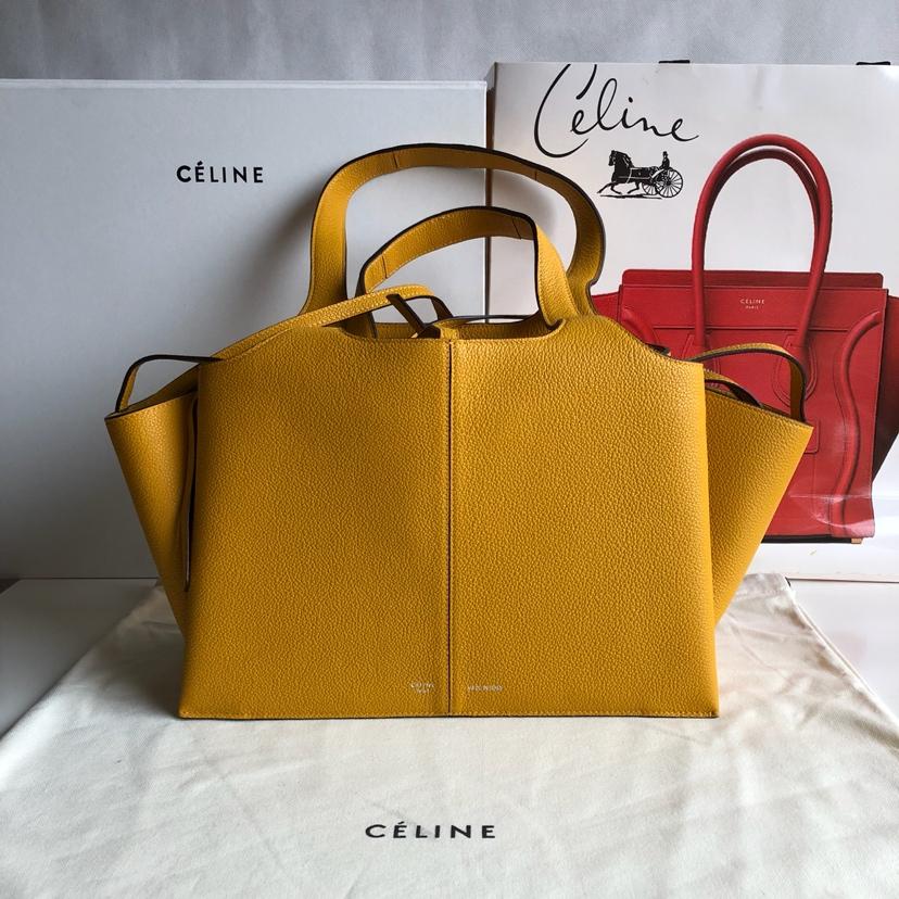CELINE包包官网 32厘米 黄色 荔枝纹 妈咪包 超级大容量