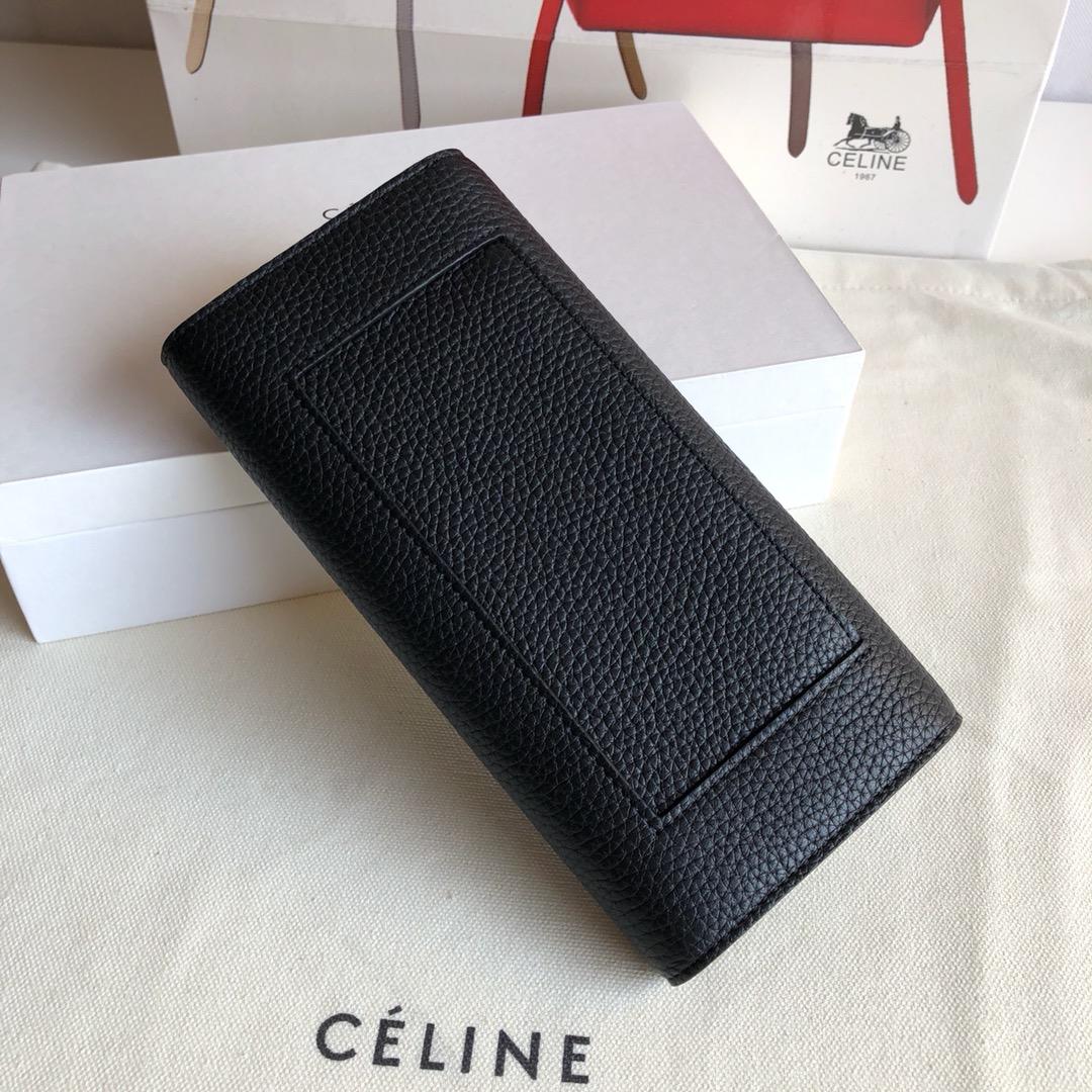 CELINE 0172 黑色 荔枝纹/黄色 19cm 长款钱包 卡包