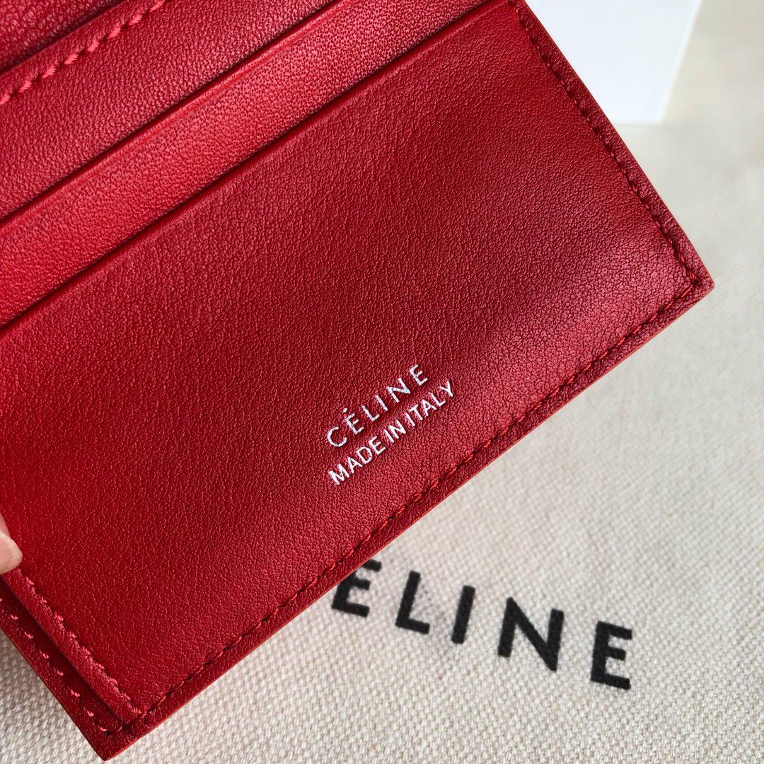 CELINE12厘米 桔红色 水波纹三折钱包原厂定制五金