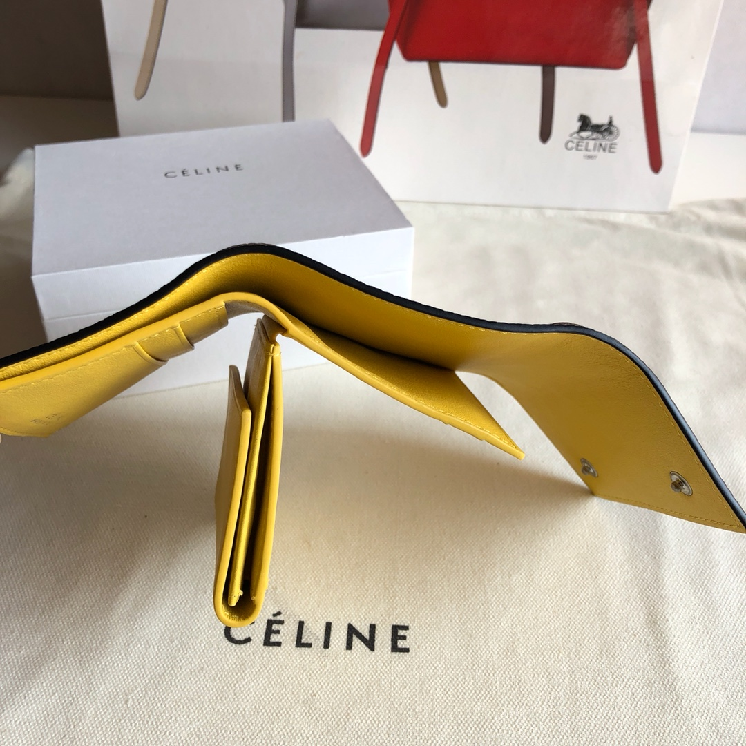 CELINE12厘米 荔枝纹 卡其拼黄色 三折钱包原厂定制五金