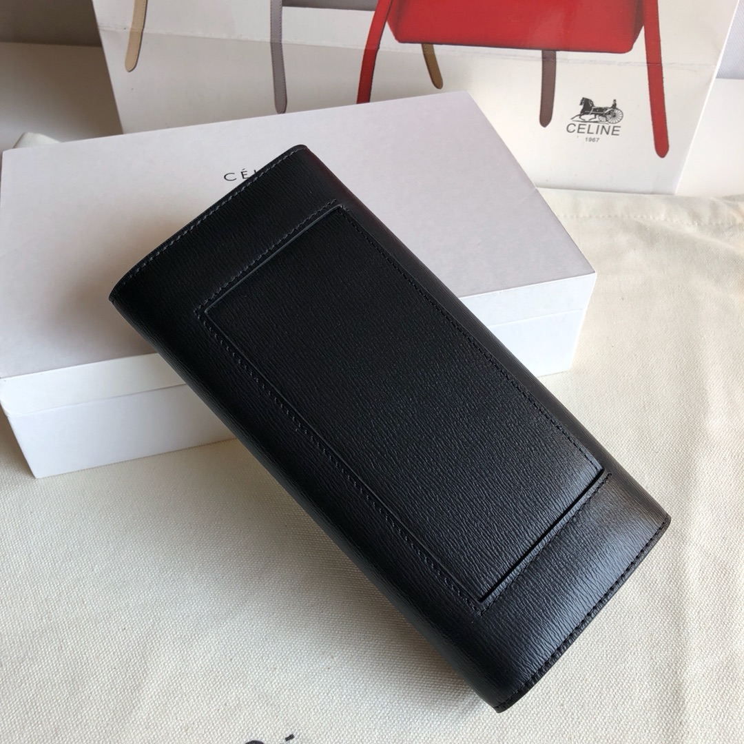 CELINE 0172 黑色 水波纹 19cm 长款钱包 卡包