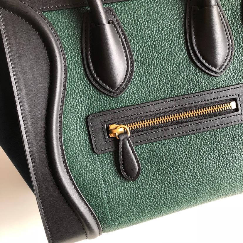 CELINE 笑脸包 26cm 黑色拼色绿色 海外原单 专柜新色