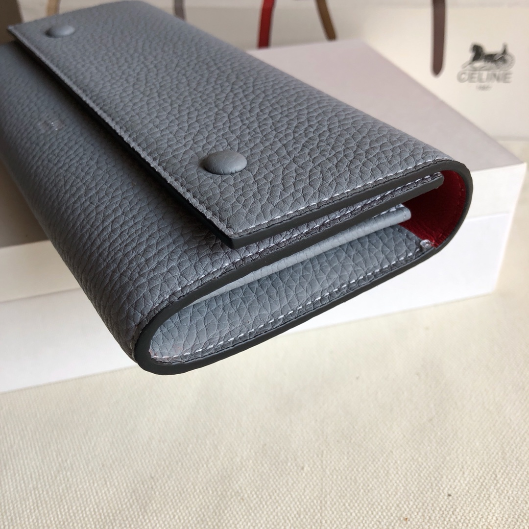 CELINE 0172云雾蓝 荔枝纹/桔红 19cm 长款钱包 卡包