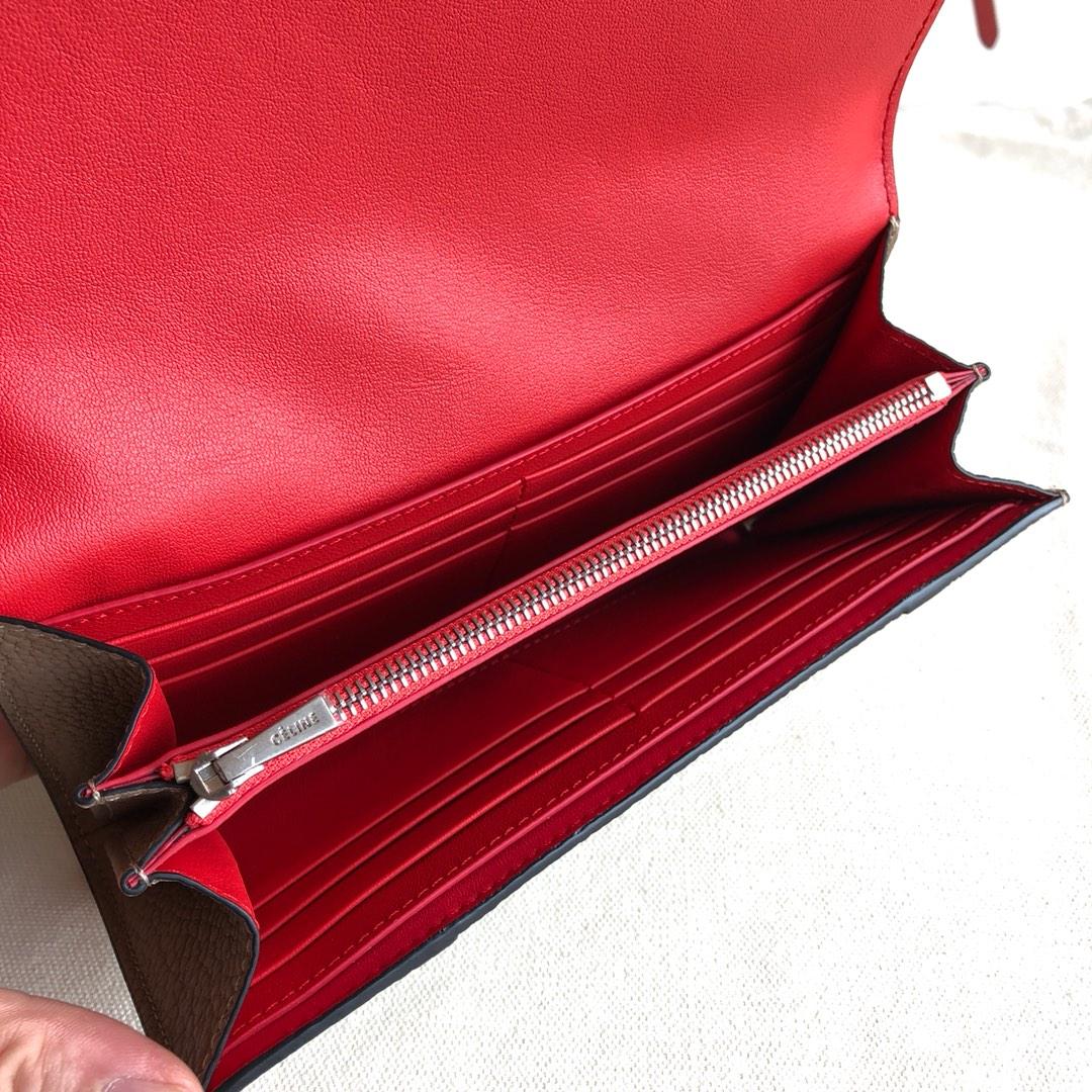 CELINE 0172 杏色 荔枝纹/桔红 19cm 长款钱包 卡包