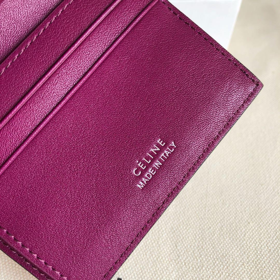 CELINE12厘米 荔枝纹 紫红拼紫色 三折钱包原厂定制五金