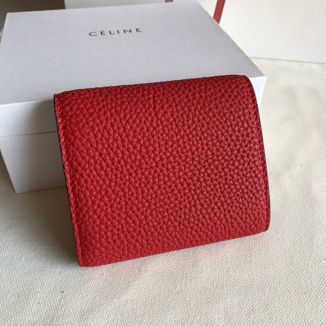CELINE12厘米 荔枝纹 大红 三折钱包原厂定制五金