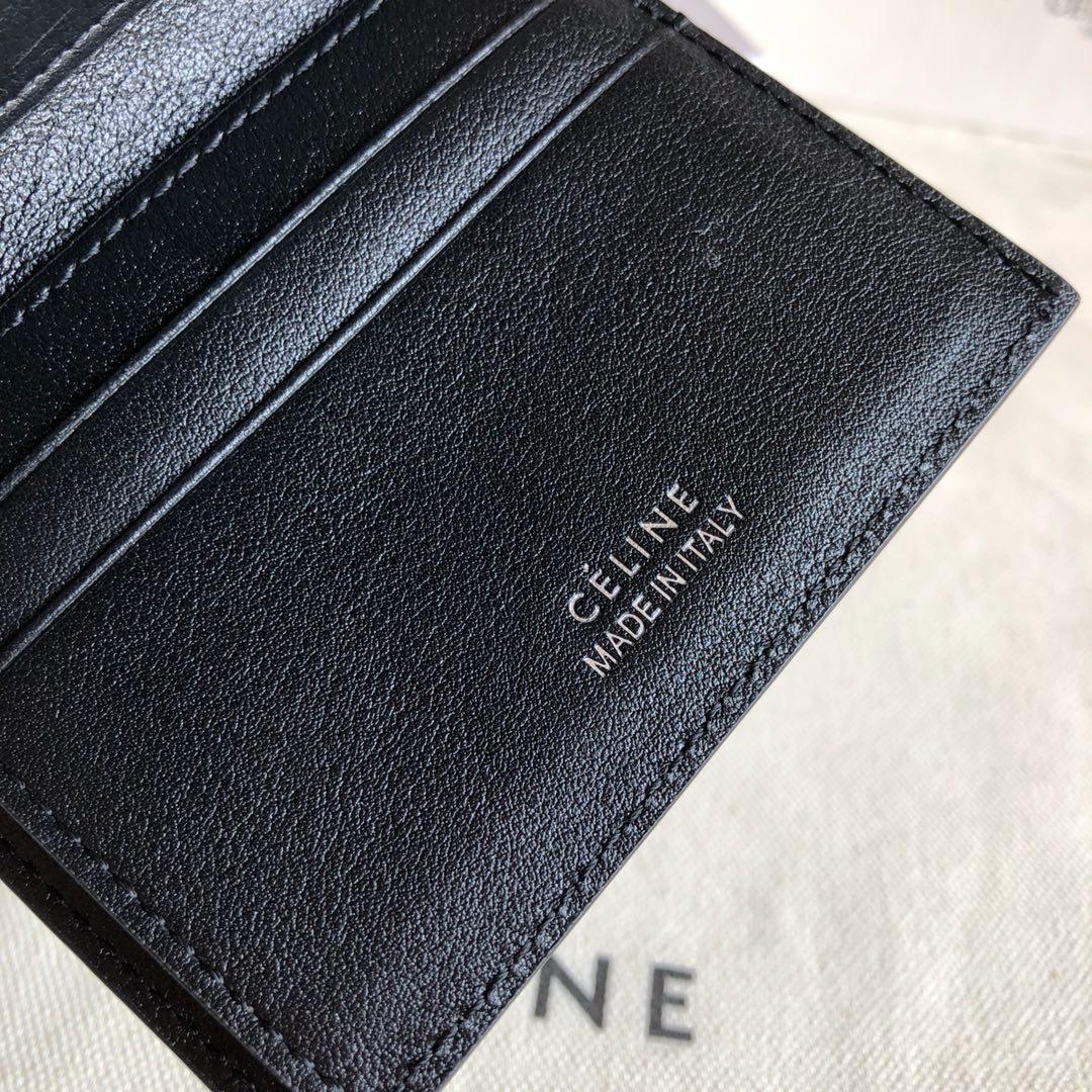 CELINE12厘米 黑色水波纹三折钱包原厂定制五金