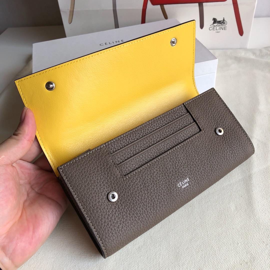 CELINE 0172 卡其 荔枝纹/黄色 19cm 长款钱包 卡包