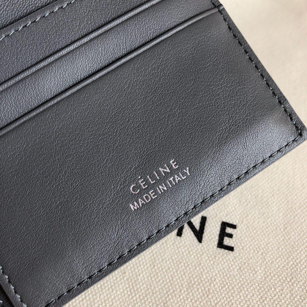 CELINE12厘米灰色 水波纹翻盖钱包原厂定制五金