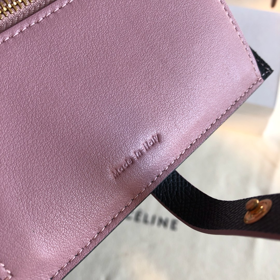 CELINE 钱夹 黑色手掌纹/粉色 14cm 卡包 钱包