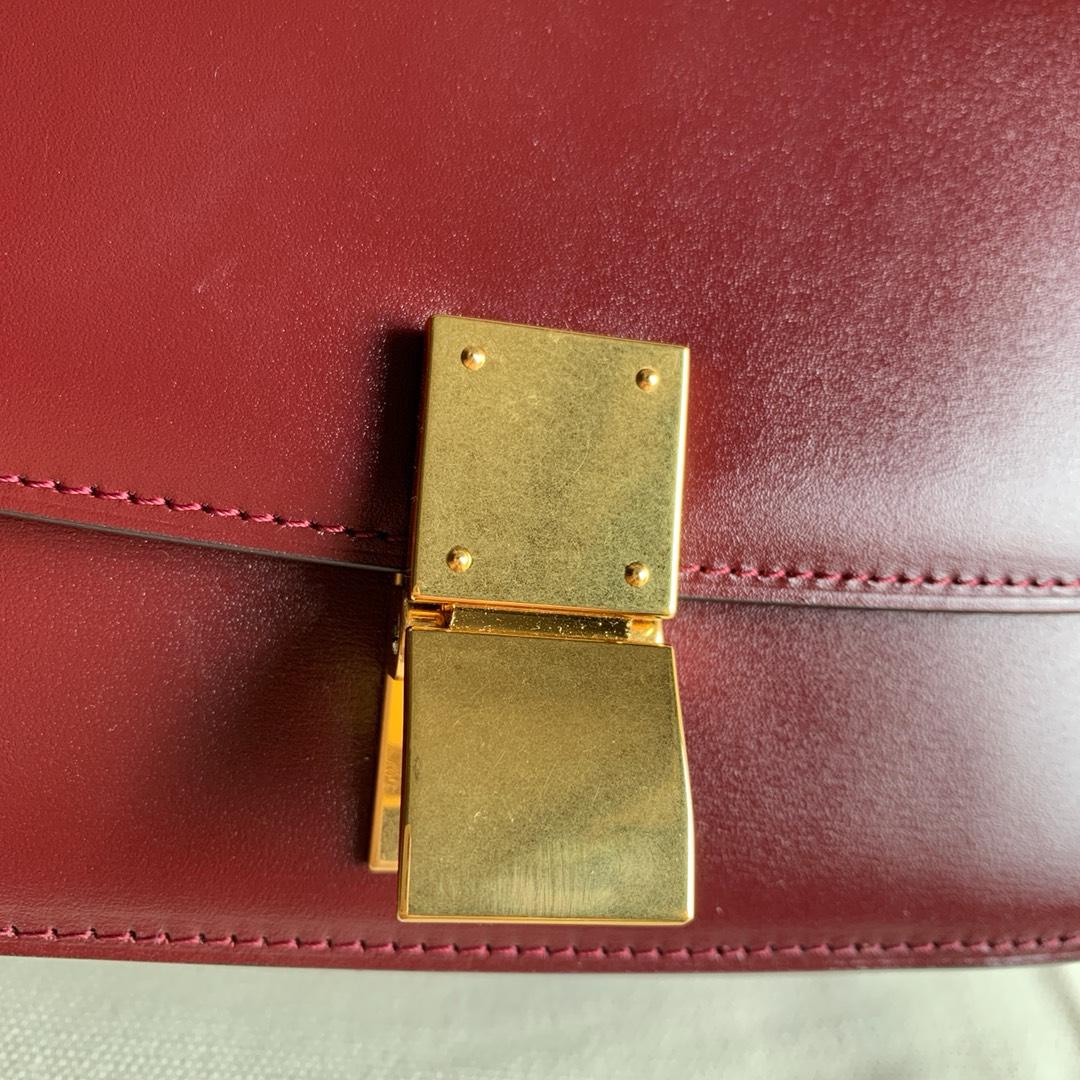 CELINE box 17厘米 猪肝红手搓纹 最新升级版 意大利进口小牛皮 内里水染羊皮