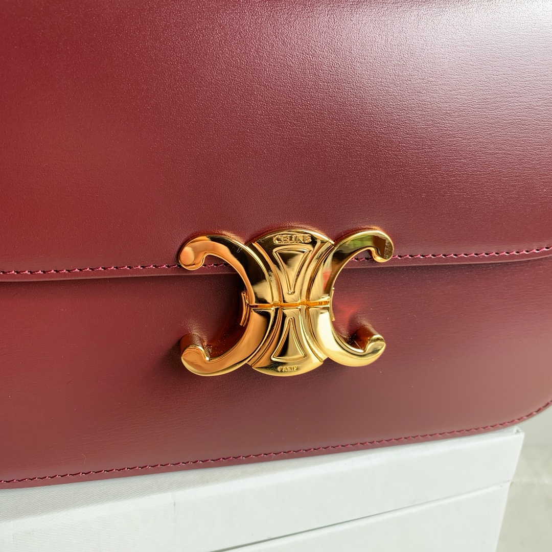 CELINE 全新box 金扣 搭配羊皮内里 完美复古包 平整的水油边 精致媲美专柜 20cm