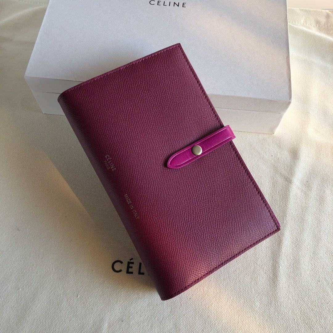 Celine 思林 枣红手掌纹/紫色 19cm 卡包 钱包