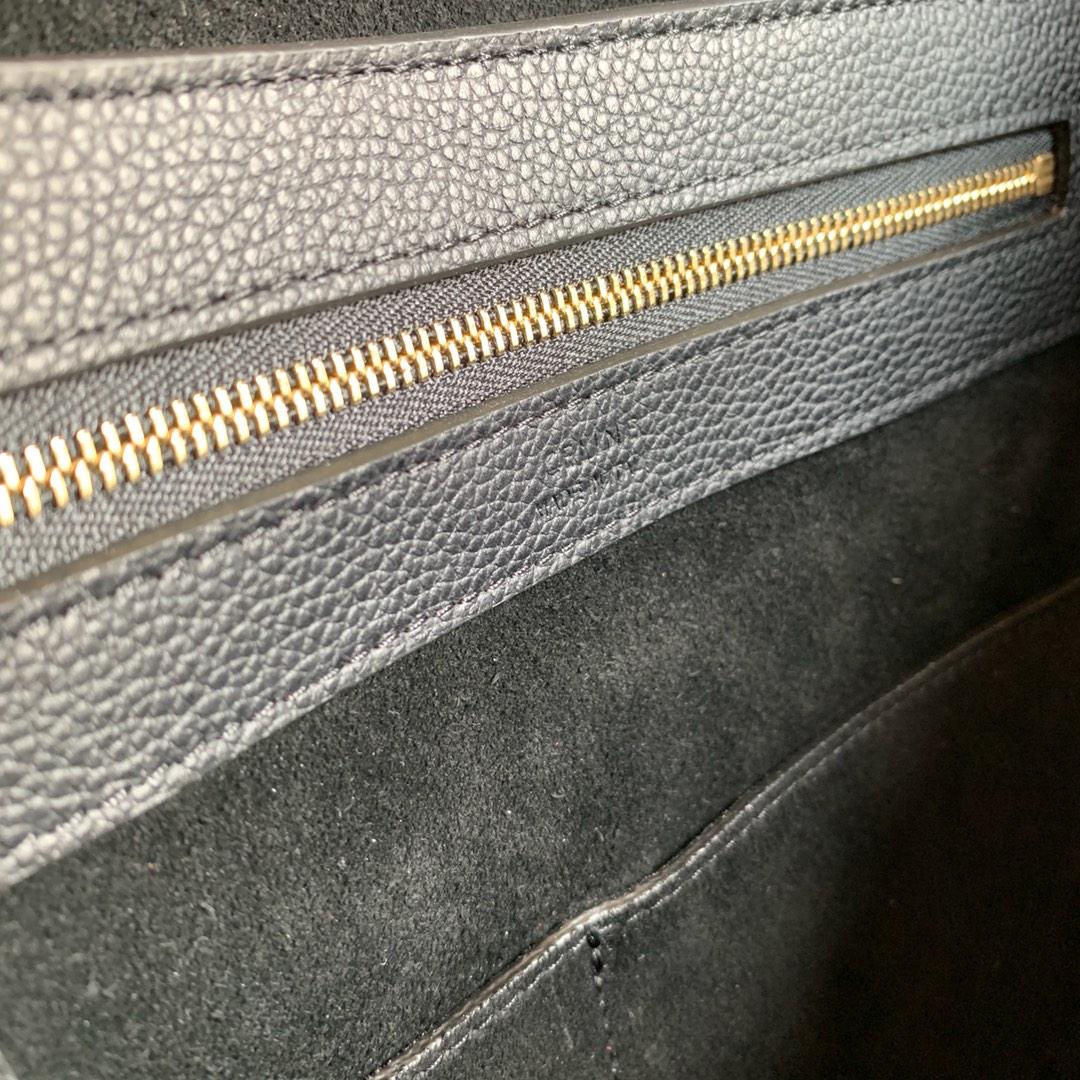 CABAS PHANTOM 27x31x17厘米 金色金属 黑色荔枝纹 内里磨砂牛皮 189023