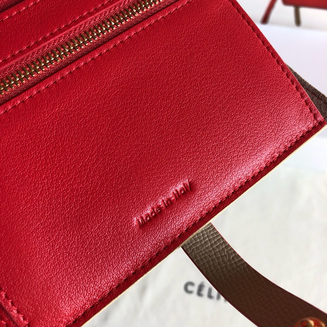 CELINE 钱夹 浅杏色手掌纹/玫红色 14cm 卡包 钱包