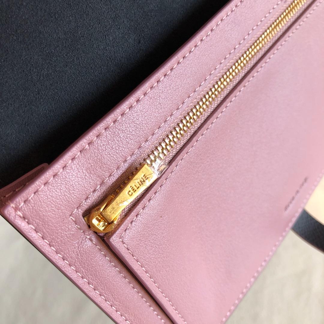 CELINE 钱夹 黑色手掌纹/粉色 19cm 卡包 钱包