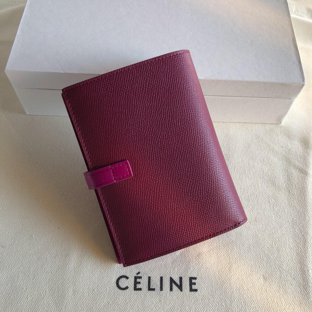 Celine 思林 枣红手掌纹/紫色 14cm 卡包 钱包