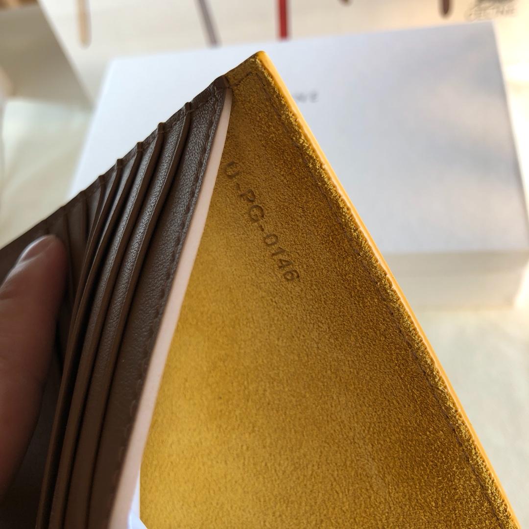 CELINE 钱夹 黄色 手掌纹 卡其色 14cm 卡包  机票夹
