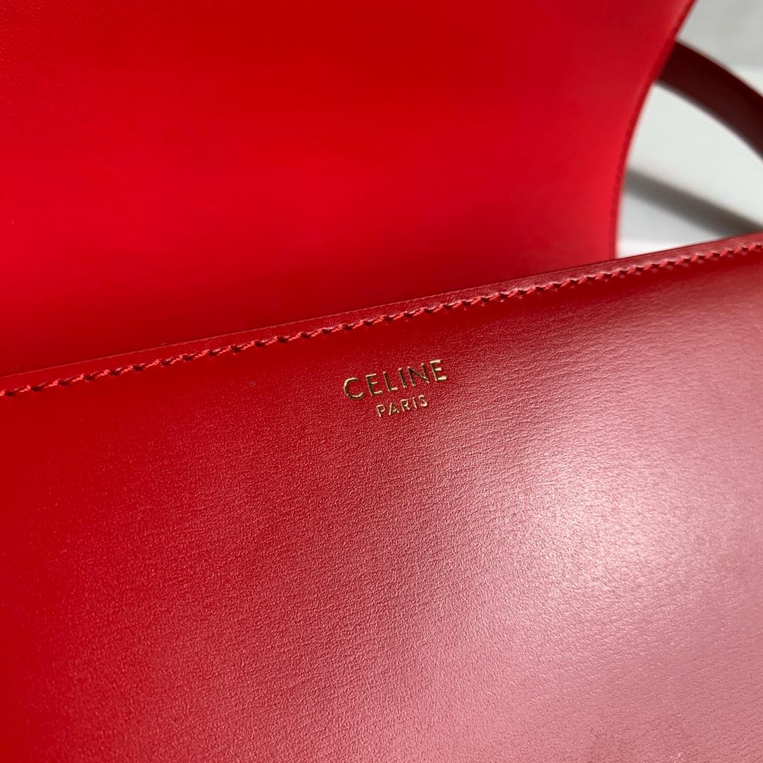 CELINE 全新box 金扣搭配羊皮内里完美复古包平整的水油边精致媲美专柜 25cm