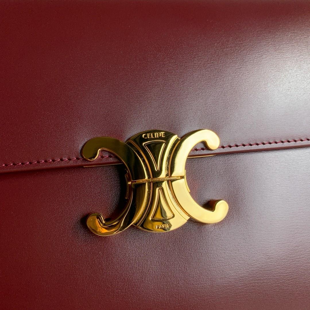 CELINE 全新box 金扣 搭配羊皮内里 完美复古包 平整的水油边 精致媲美专柜 25cm