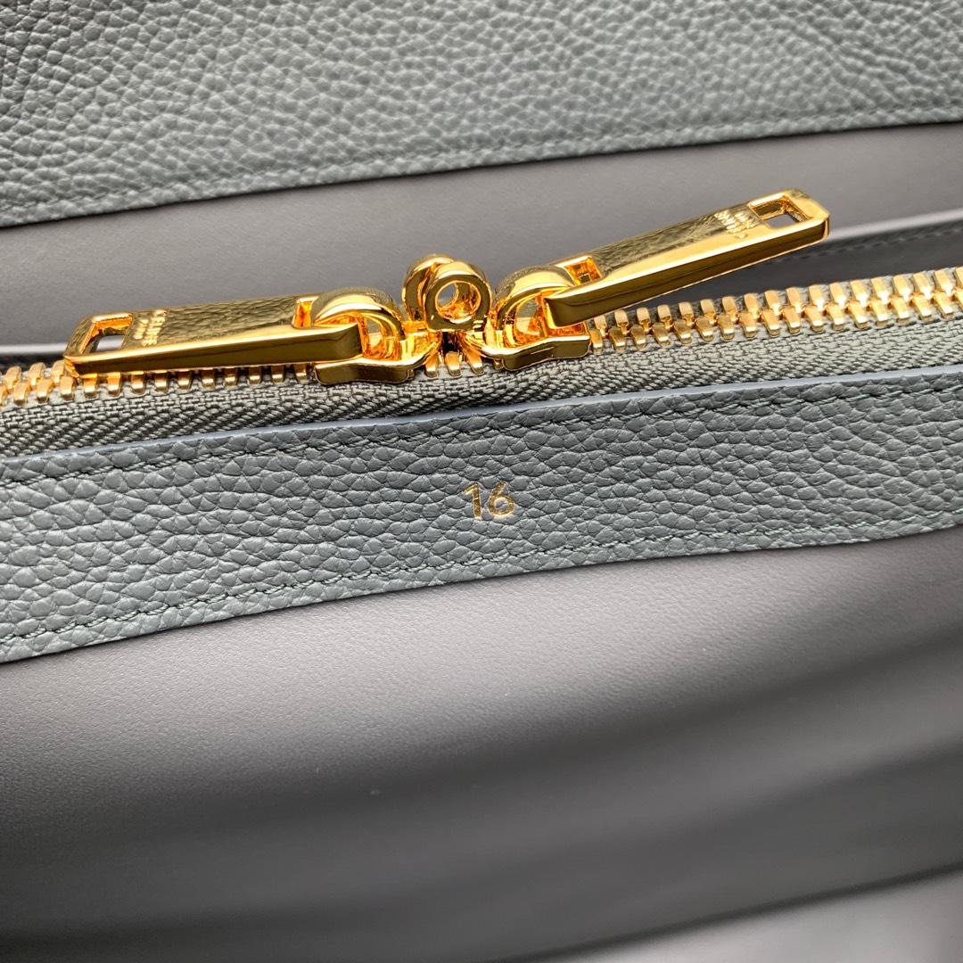 """""""16""""手袋 灰色荔枝纹  32x23.5x13cm 100%小牛皮 金色金属件 黄铜锁扣 可肩背或斜挎"""
