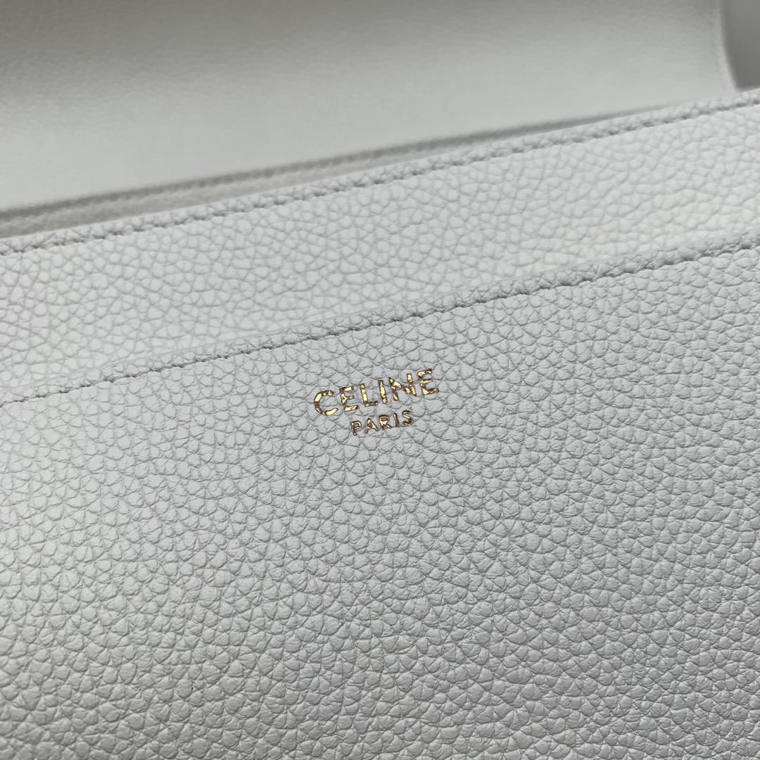 """""""16""""手袋 白色荔枝纹 32x23.5x13cm 100%小牛皮 金色金属件 黄铜锁扣 可肩背或斜挎"""
