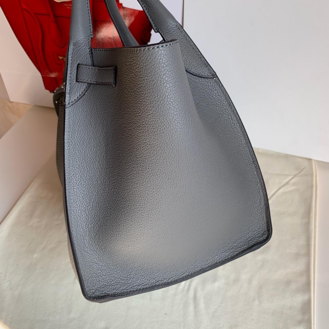 Big bag 荔枝纹 小牛皮 24*22*26cm 浅灰色 原厂进口五金