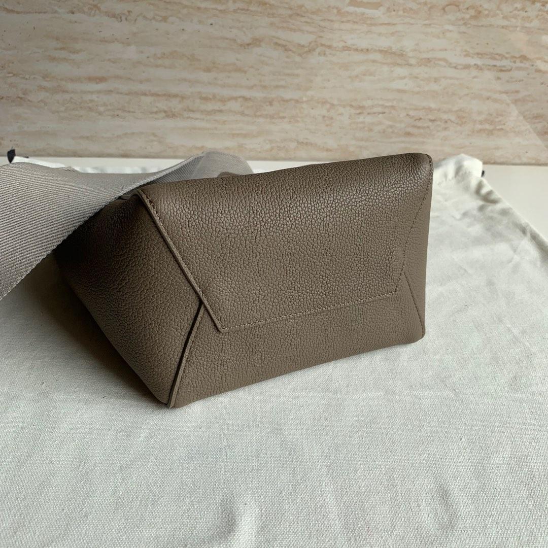 Celine 大象灰 荔枝纹 SANGLE BUCKET小号柔软粒面小牛皮水桶包 18 X 25 X 12 厘米