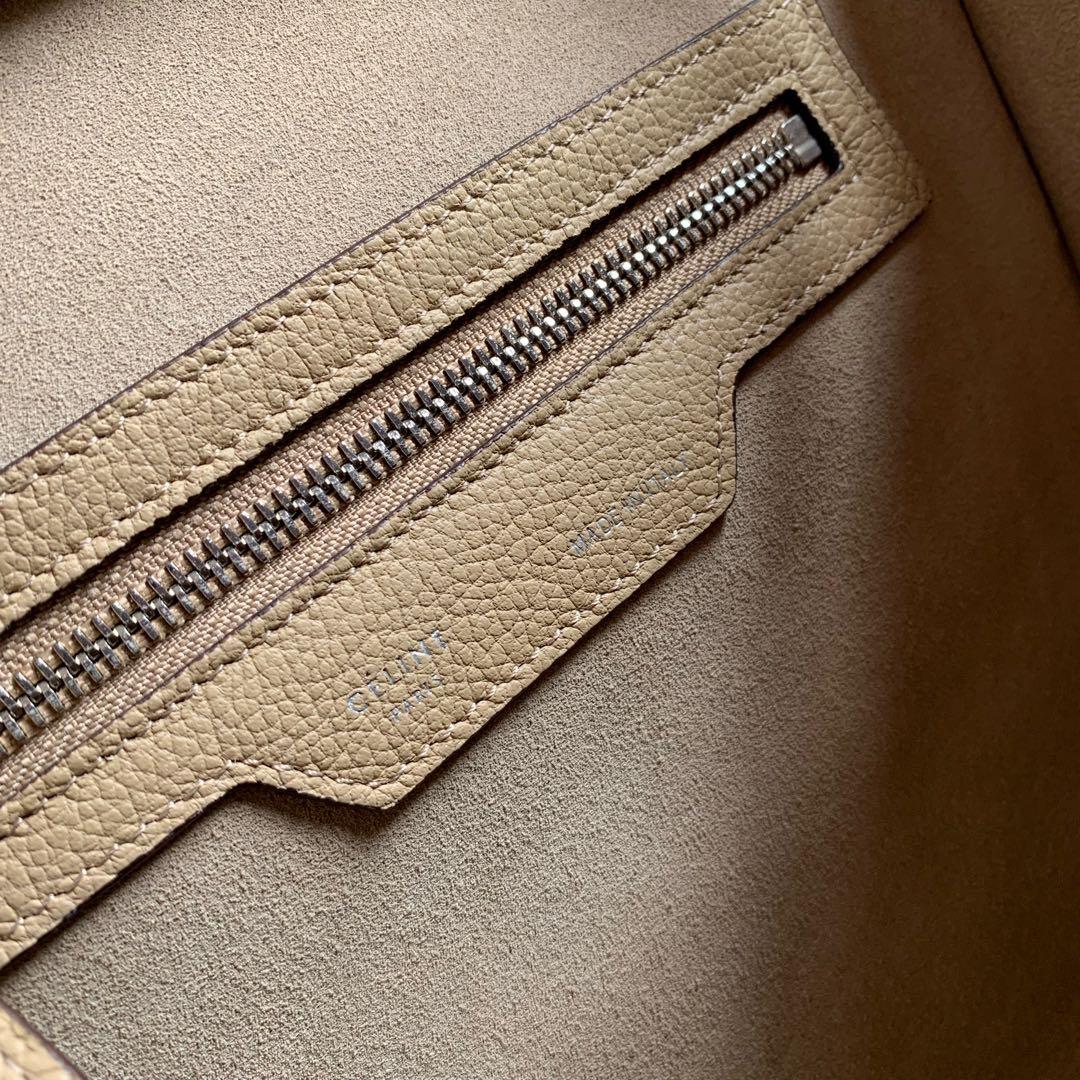 CELINE 沙丘色荔枝纹 LUGGAGE NANO转鼓小牛皮手袋 27 X 27 X 15厘米