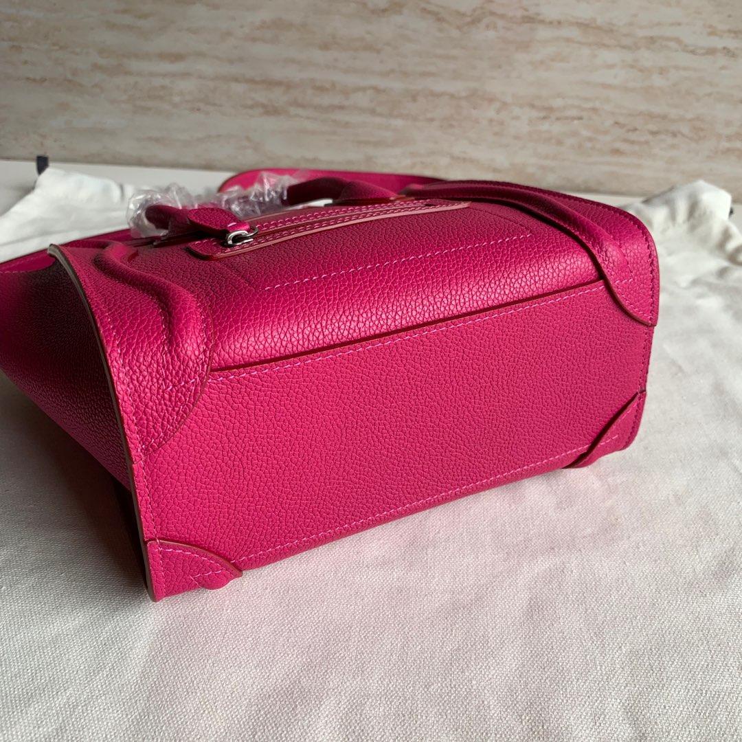 CELINE包包 玫红荔枝纹 LUGGAGE NANO 20 X 20 X 10 厘米 100%小牛皮