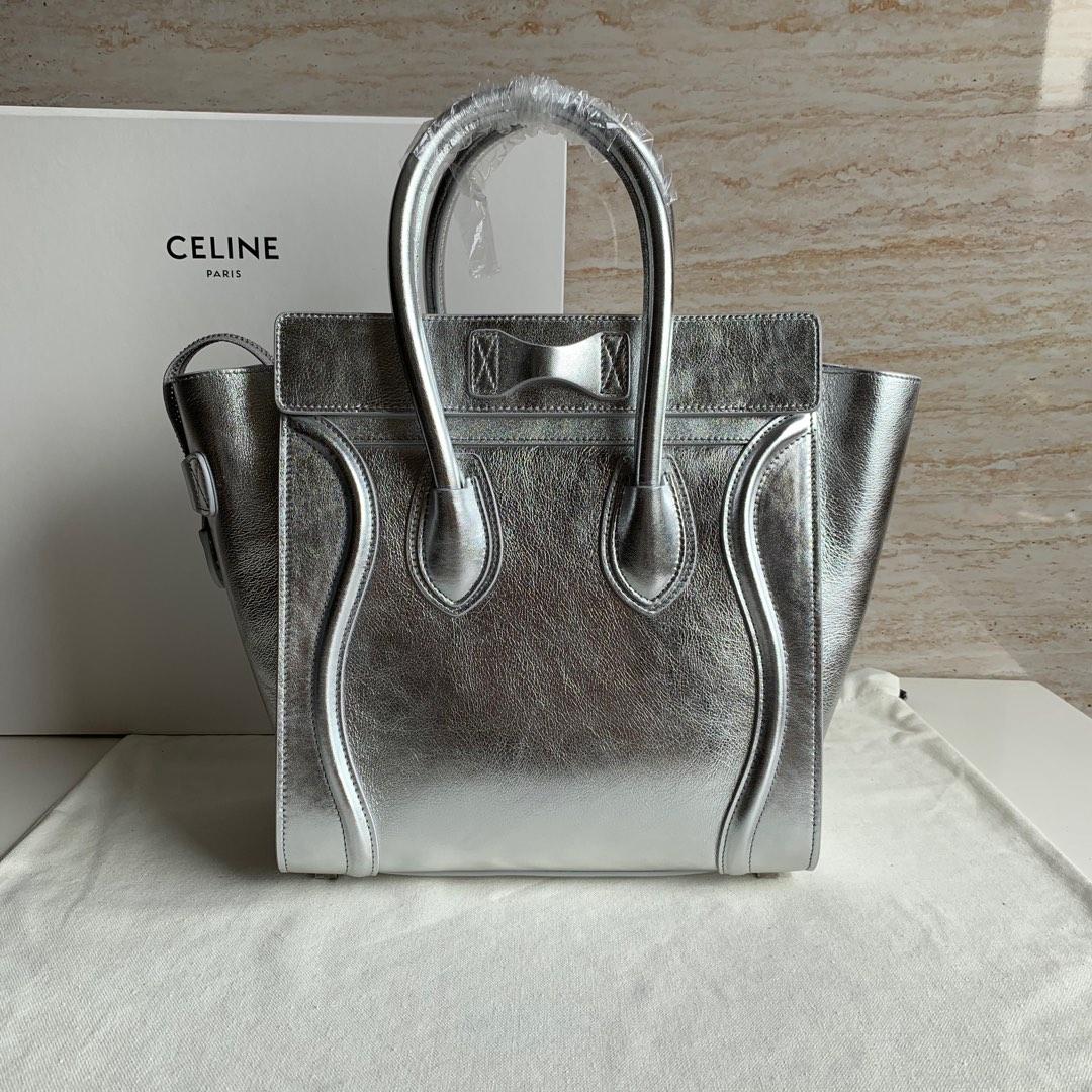 CELINE包包 银色平纹 100%小牛皮 27 X 27 X 15厘米 手提
