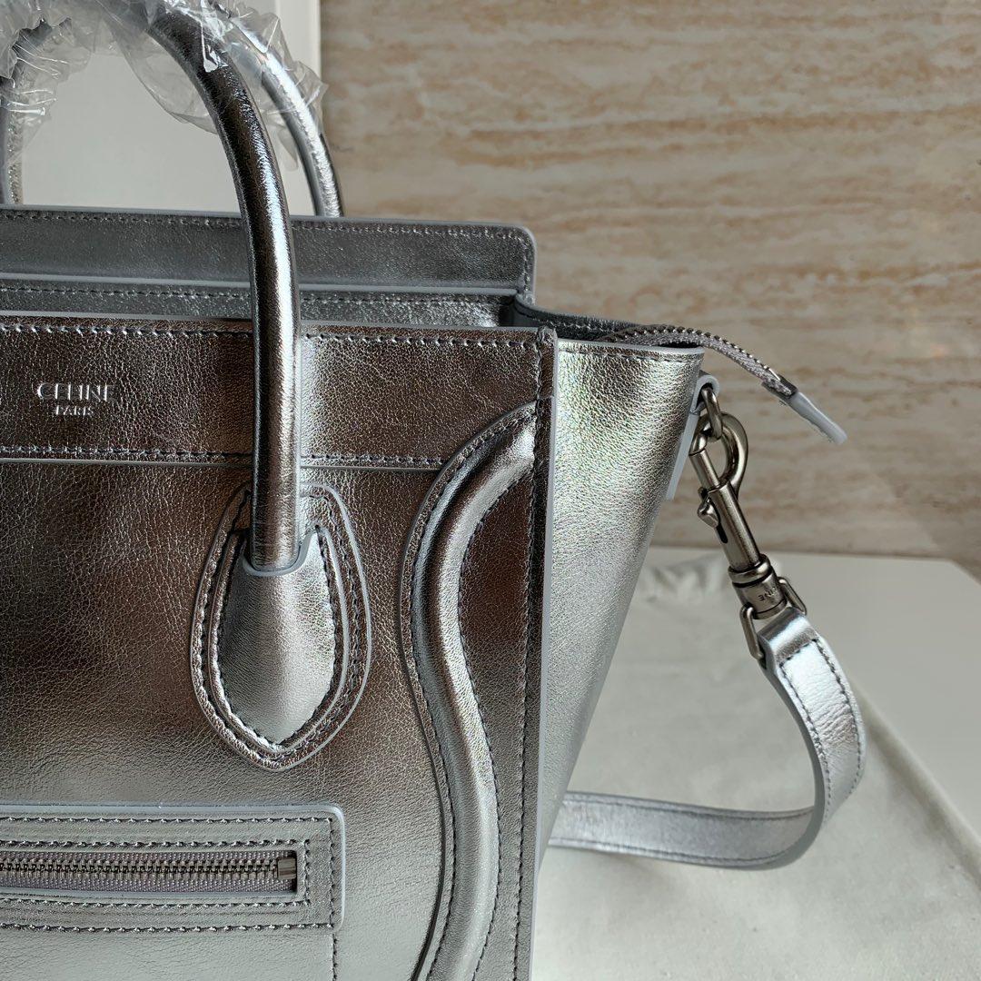 CELINE包包 银色平纹 LUGGAGE NANO 20 X 20 X 10 厘米 100%小牛皮