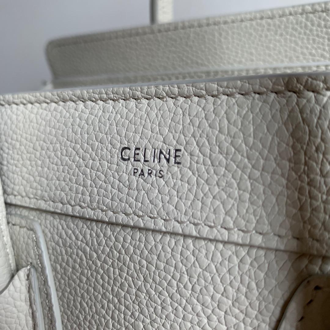 CELINE包包官网 白色荔枝纹 20 X 20 X 10 厘米 100%小牛皮