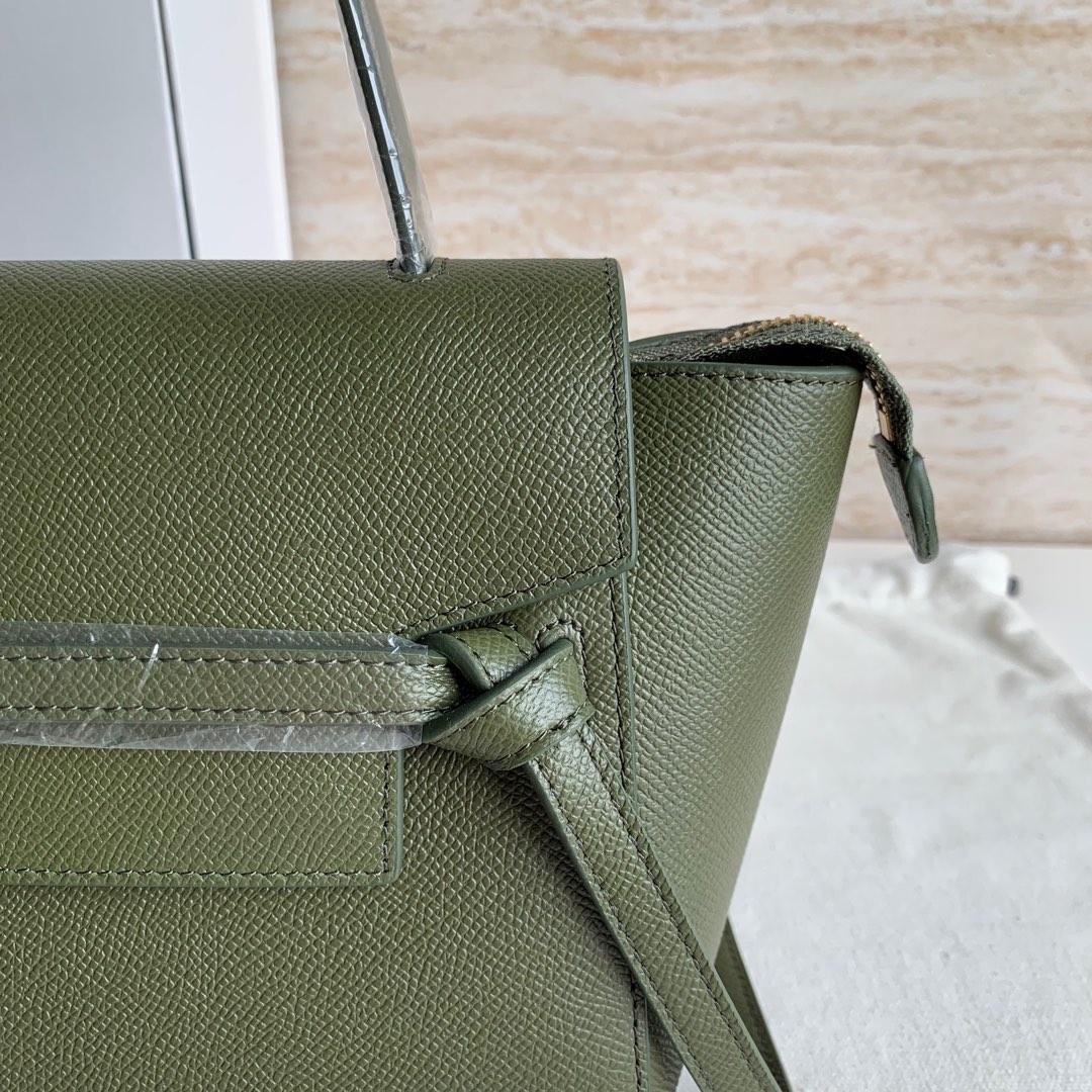 军绿色手掌纹 BELT 粒面小牛皮手袋 20 X 20 X 10厘米 里外全皮