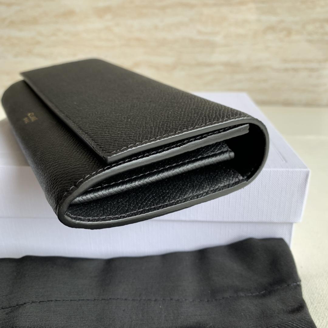 CELINE新款 4148 黑色手掌纹 19cm 长款钱包 卡包