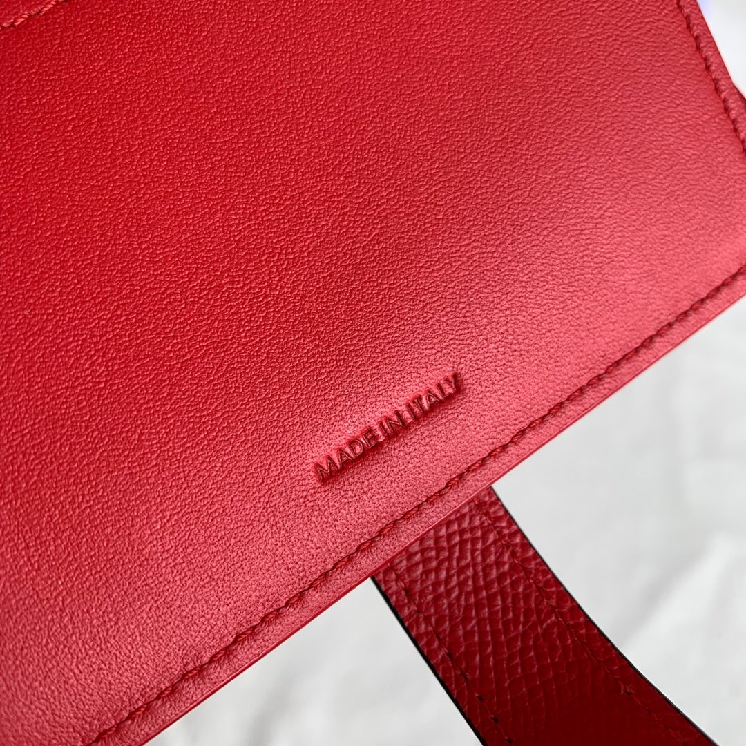 CELINE STRAP小号 粒面小牛皮钱包14 X 10.5厘米 桔红色
