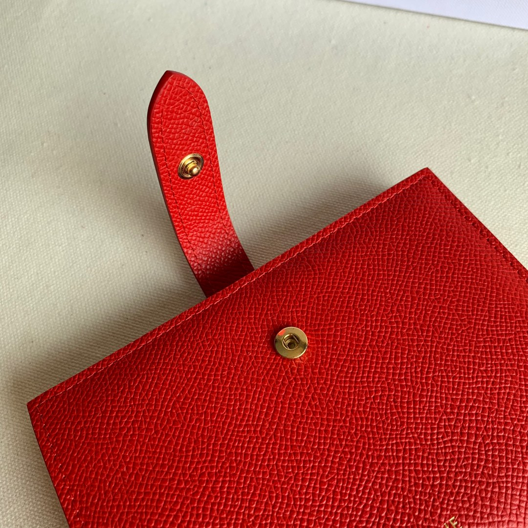 CELINE STRAP小号 粒面小牛皮钱包14 X 10.5厘米 大红色