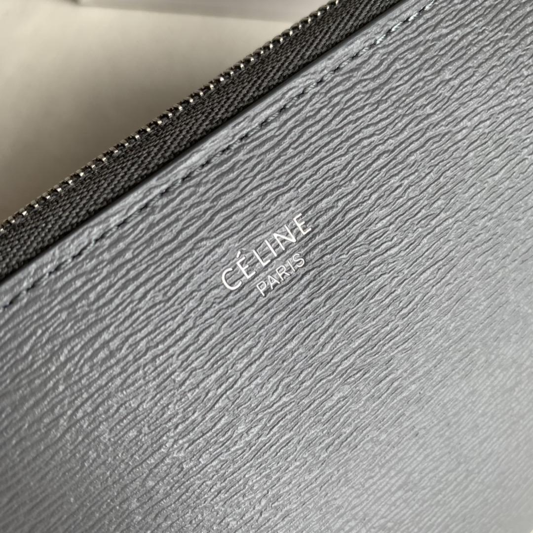 CELINE19厘米 铁灰水波纹拉链钱包