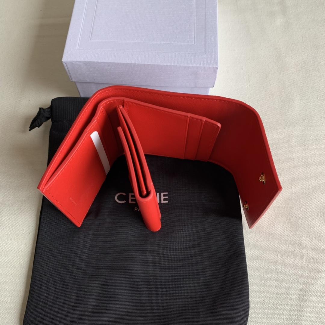 CELINE新款 0146 大红掌纹 短款三折钱包