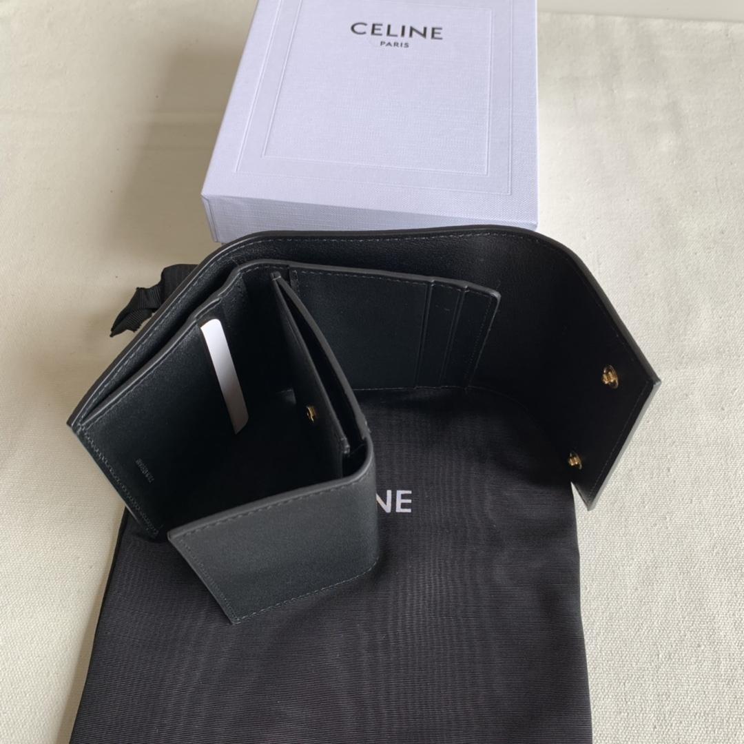 CELINE新款 0146 黑色掌纹 短款三折钱包
