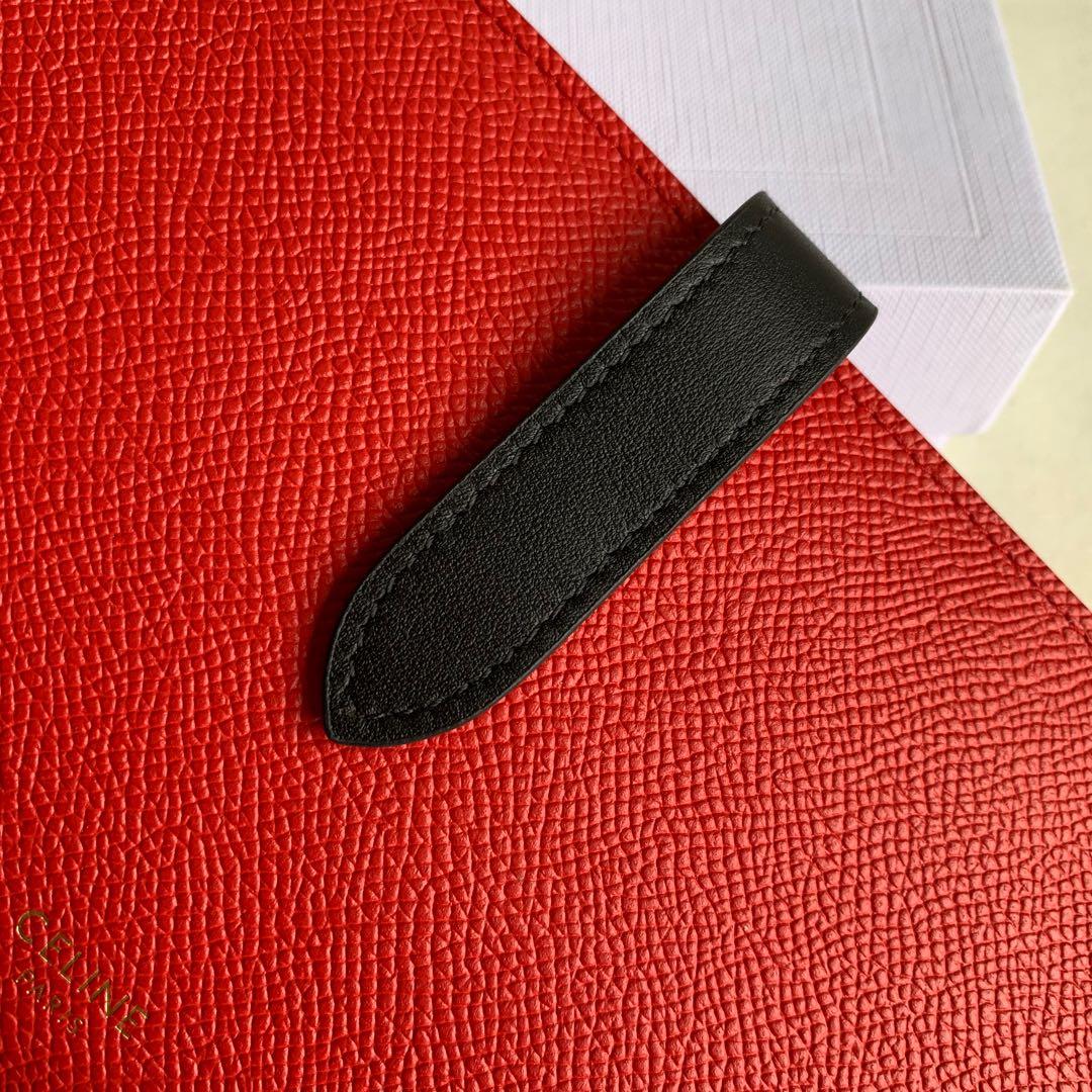 CELINE STRAP大号 粒面小牛皮钱包 19 X 12.5厘米 桔红色