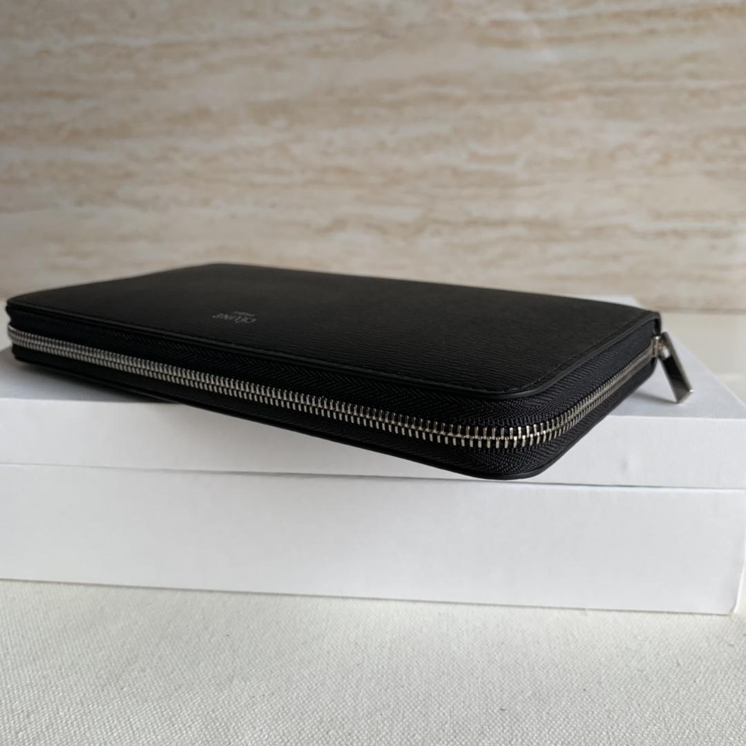CELINE19厘米 黑色水波纹拉链钱包