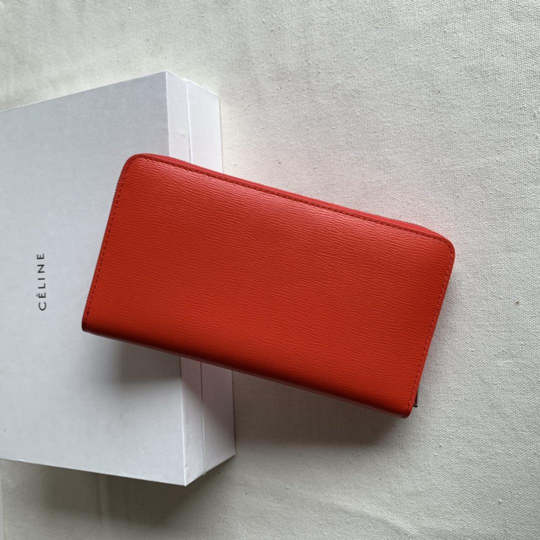 CELINE19厘米 桔红色水波纹拉链钱包