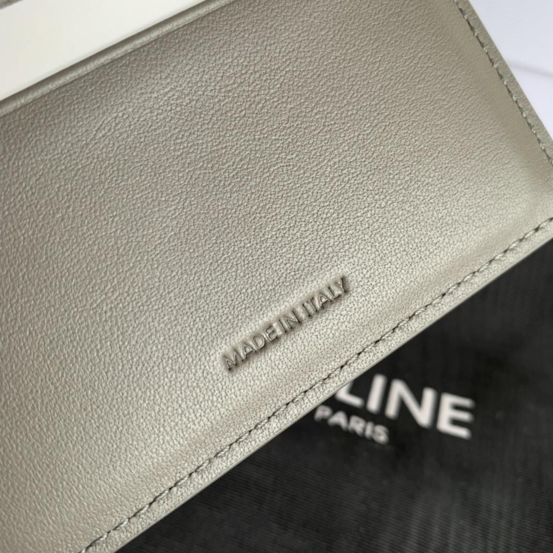 CELINE新款 0146 灰色掌纹 短款三折钱包