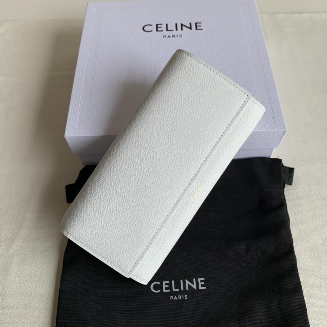 CELINE新款 4148 白色手掌纹 19cm 长款钱包 卡包