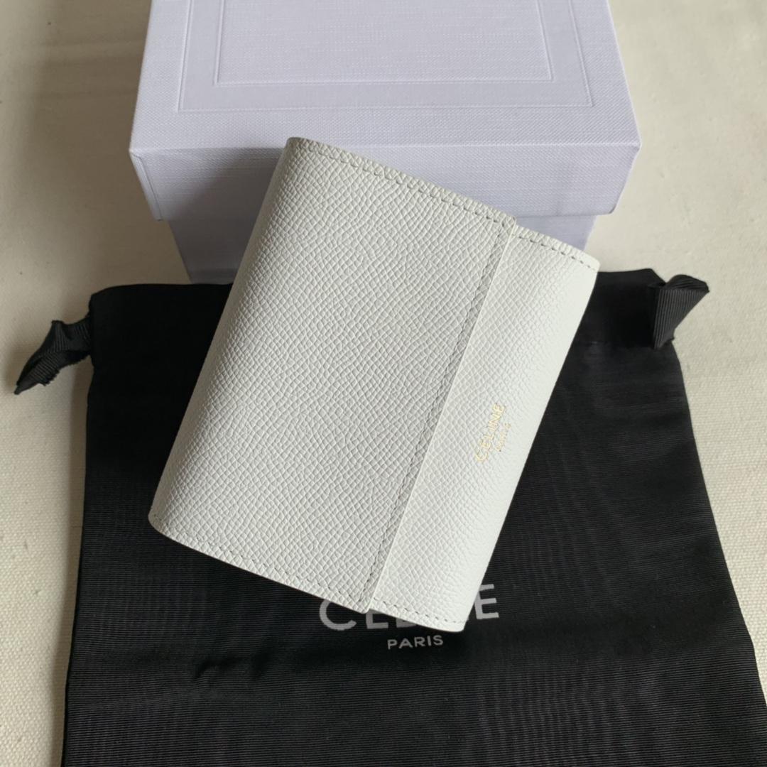CELINE新款 0146 白色掌纹 短款三折钱包